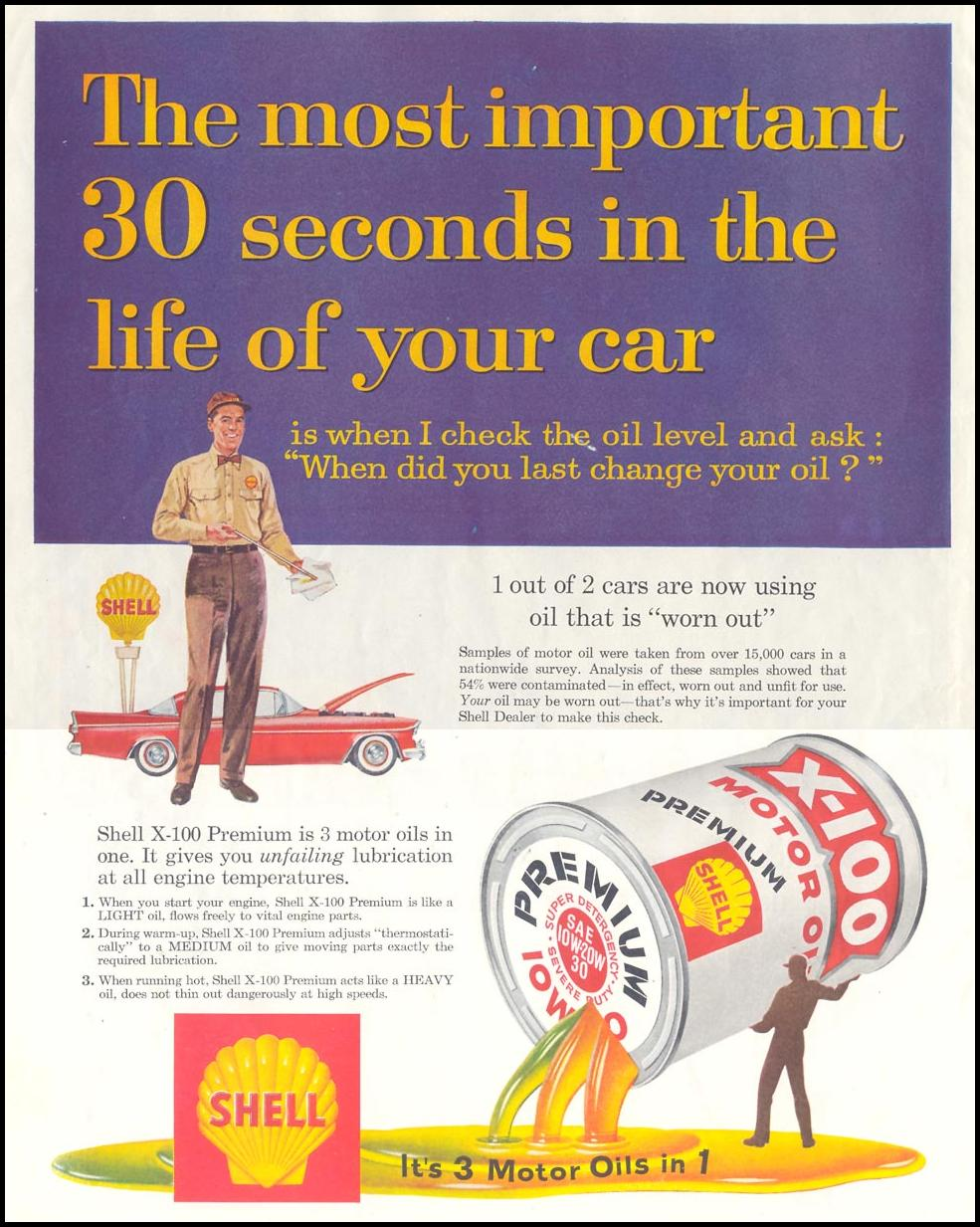 SHELL X-100 MOTOR OIL SATURDAY EVENING POST 08/15/1959