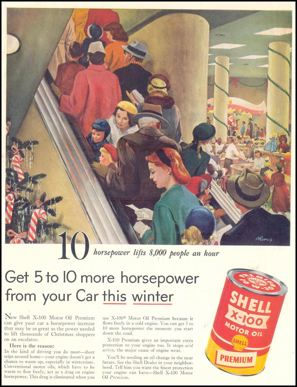 SHELL X-100 MOTOR OIL SATURDAY EVENING POST 12/10/1955 p. 2