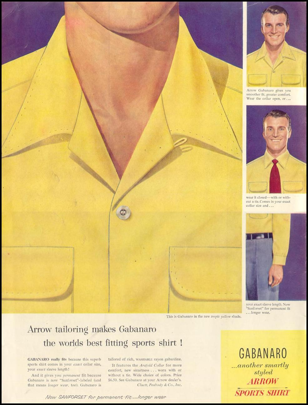 ARROW GABANARO SPORTS SHIRT LIFE 02/02/1953 INSIDE FRONT