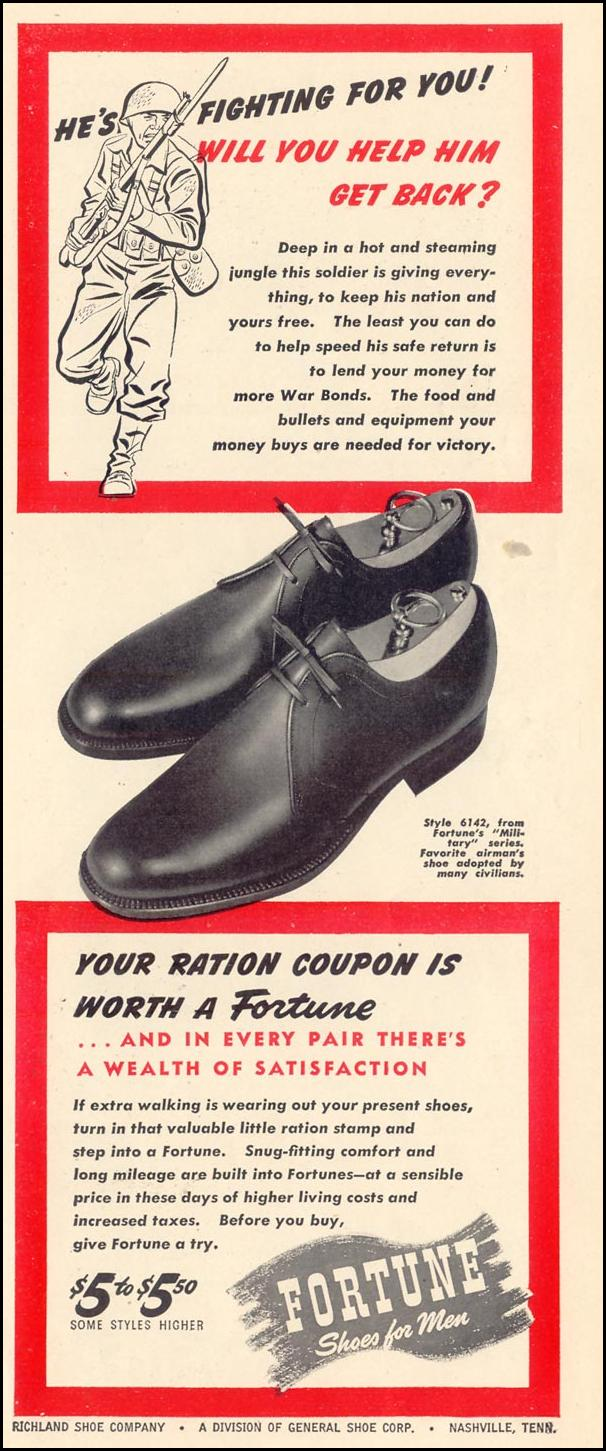 FORTUNE SHOES FOR MEN LIFE 02/28/1944 p. 113