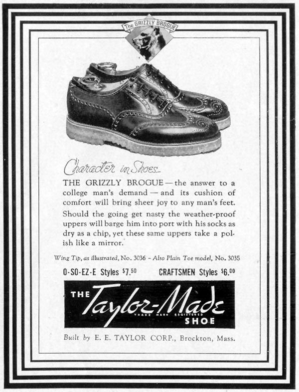 TAYLOR-MADE GRIZZLY BROGUE SHOE LIFE 09/06/1937 p. 100