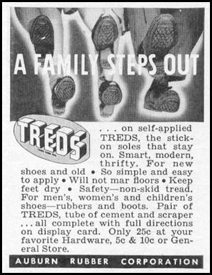 TREDS STICK-ON SOLES WOMAN'S DAY 11/01/1945 p. 112