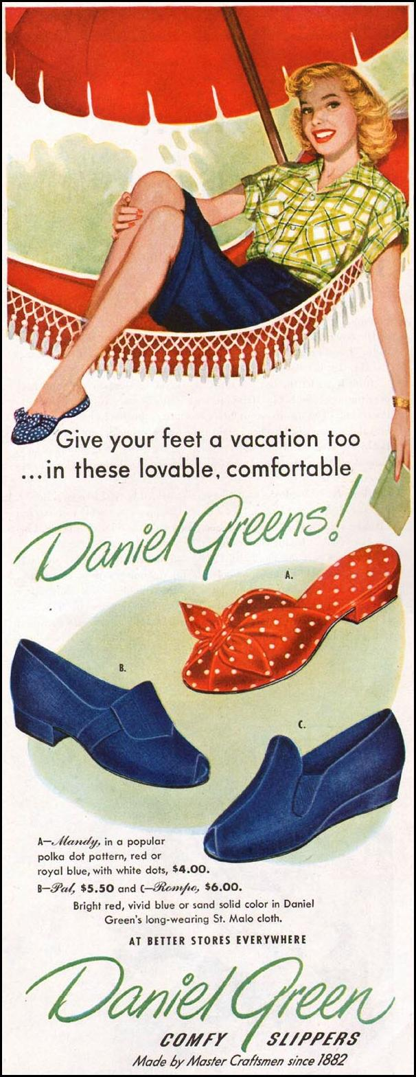 DANIEL GREEN COMFY SLIPPERS LADIES' HOME JOURNAL 07/01/1949 p. 24