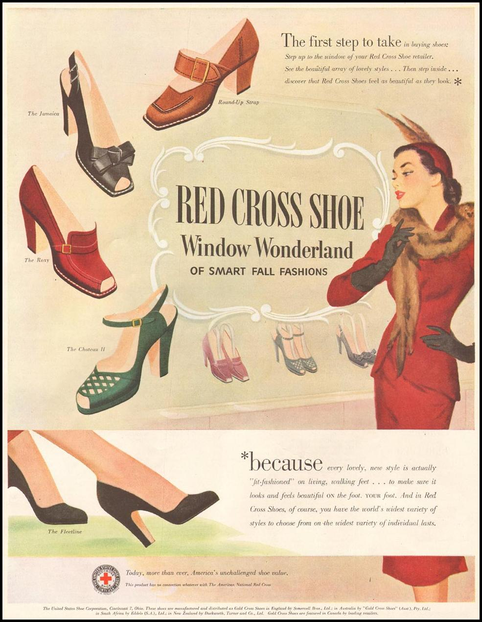 RED CROSS SHOES LADIES' HOME JOURNAL 11/01/1950 p. 205
