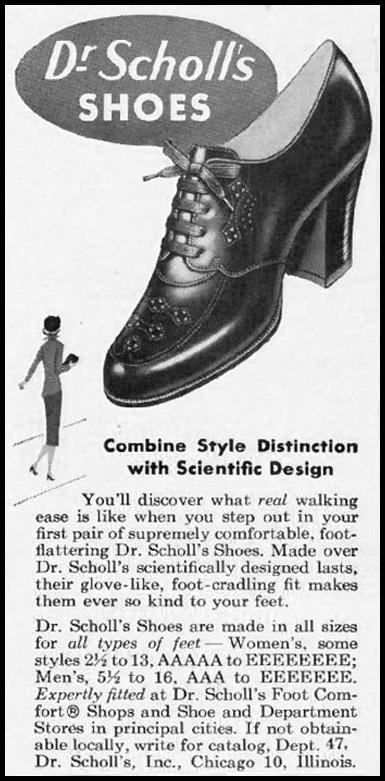 DR. SCHOLL'S SHOES LADIES' HOME JOURNAL 07/01/1954 p. 62