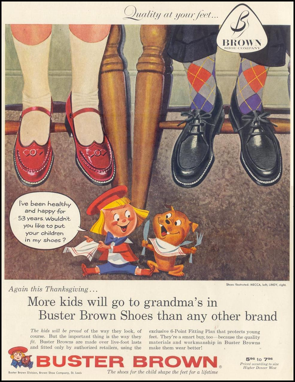 BUSTER BROWN SHOES LIFE 11/11/1957 INSIDE FRONT