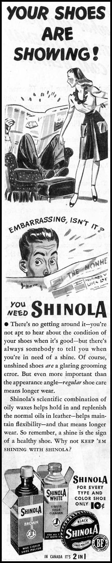SHINOLA SHOE POLISH SATURDAY EVENING POST 10/06/1945 p. 72