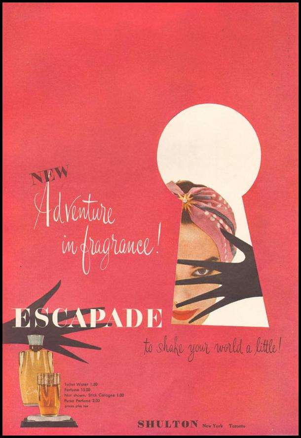 ESCAPADE PERFUME LADIES' HOME JOURNAL 07/01/1954 p. 99
