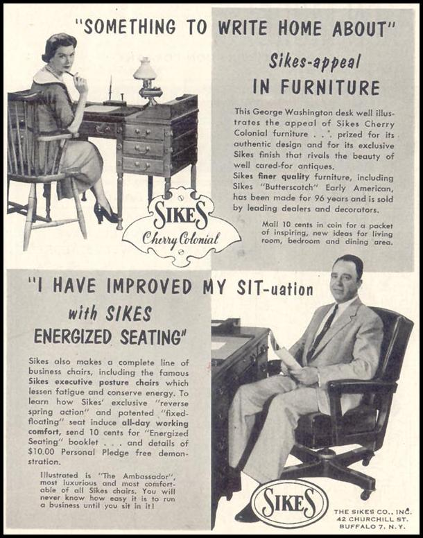 SIKES HOME AND BUSINESS CHAIRS SATURDAY EVENING POST 06/04/1955 p. 115