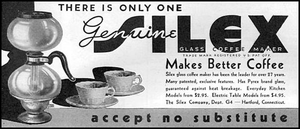 SILEX GLASS COFFEE MAKERS GOOD HOUSEKEEPING 04/01/1936 p. 256