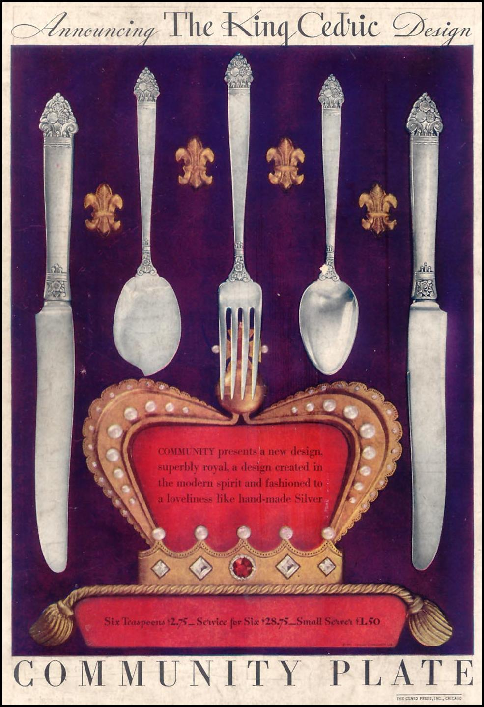 COMMUNITY PLATE GOOD HOUSEKEEPING 11/01/1933 BACK COVER