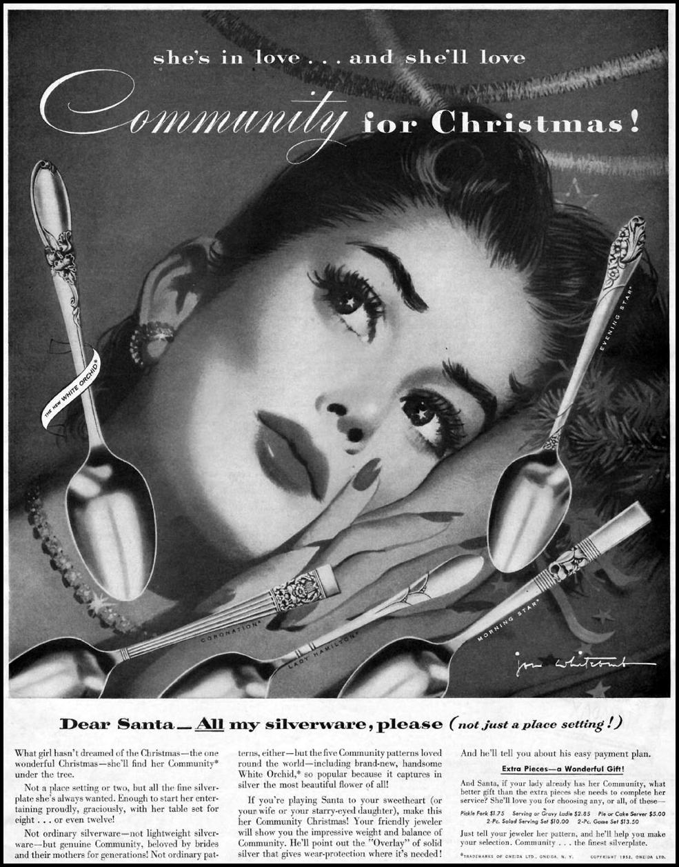 COMMUNITY SILVERPLATE WOMAN'S HOME COMPANION 12/01/1952 p. 49