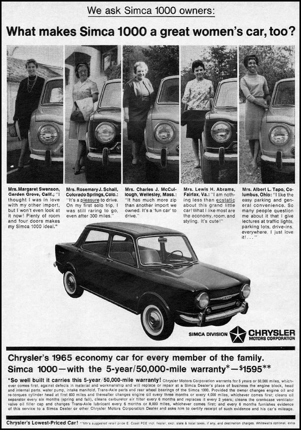 SIMCA AUTOMOBILES NEWSWEEK 10/12/1964