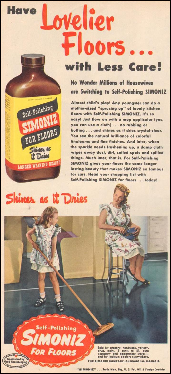 SIMONIZ FLOOR WAX WOMAN'S DAY 06/01/1947 p. 20