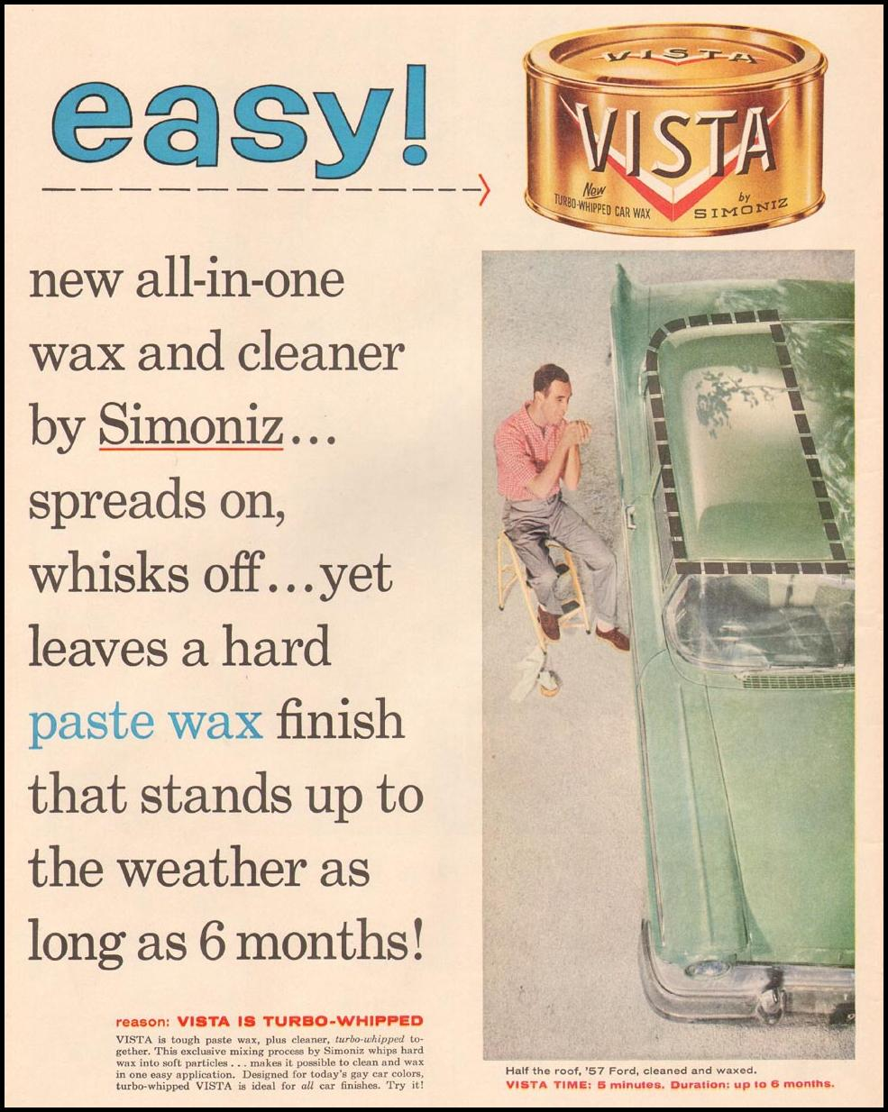 SIMONIZ VISTA CAR WAX LIFE 04/01/1957 p. 12