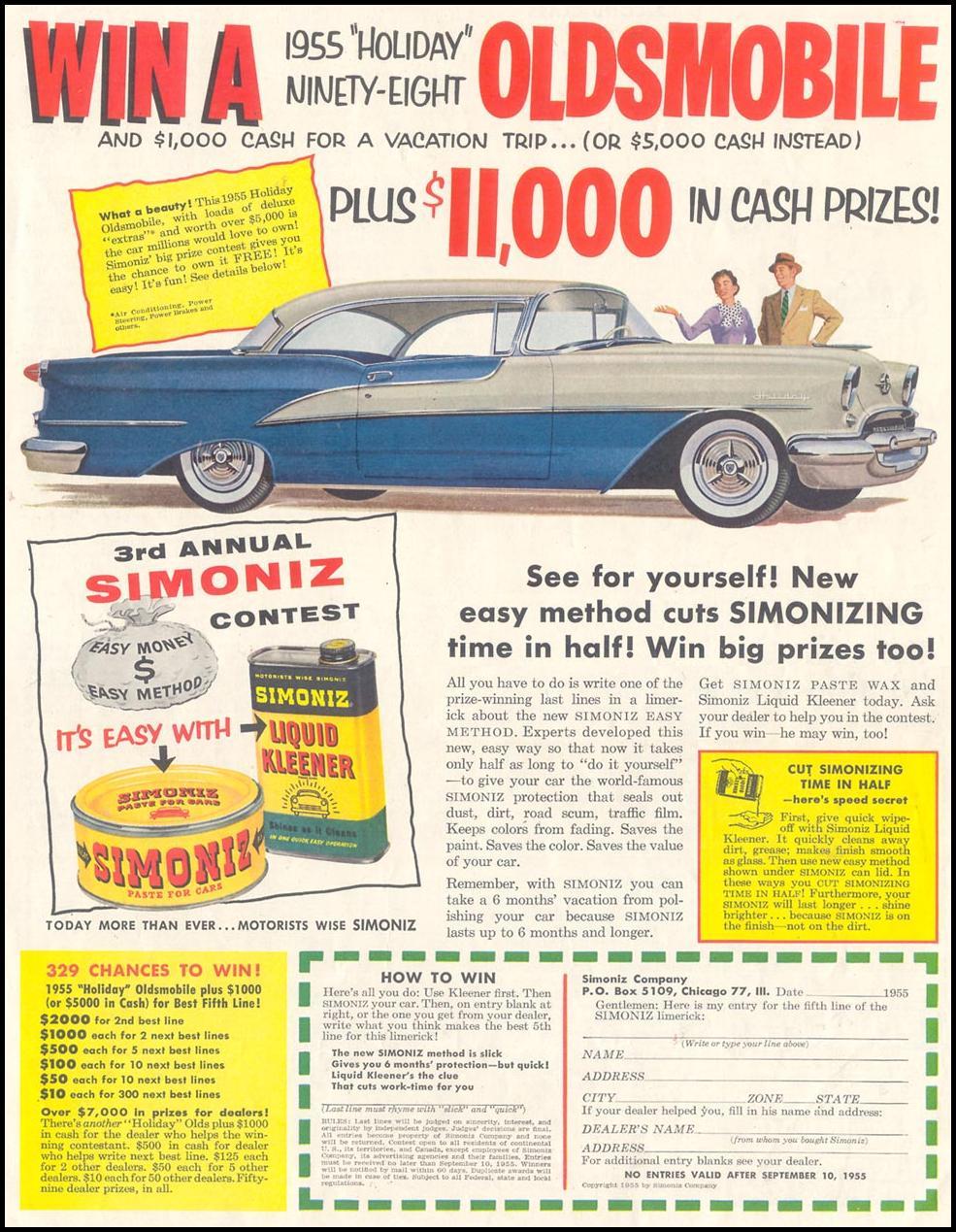 SIMONIZ CAR WAX SATURDAY EVENING POST 07/23/1955 p. 85