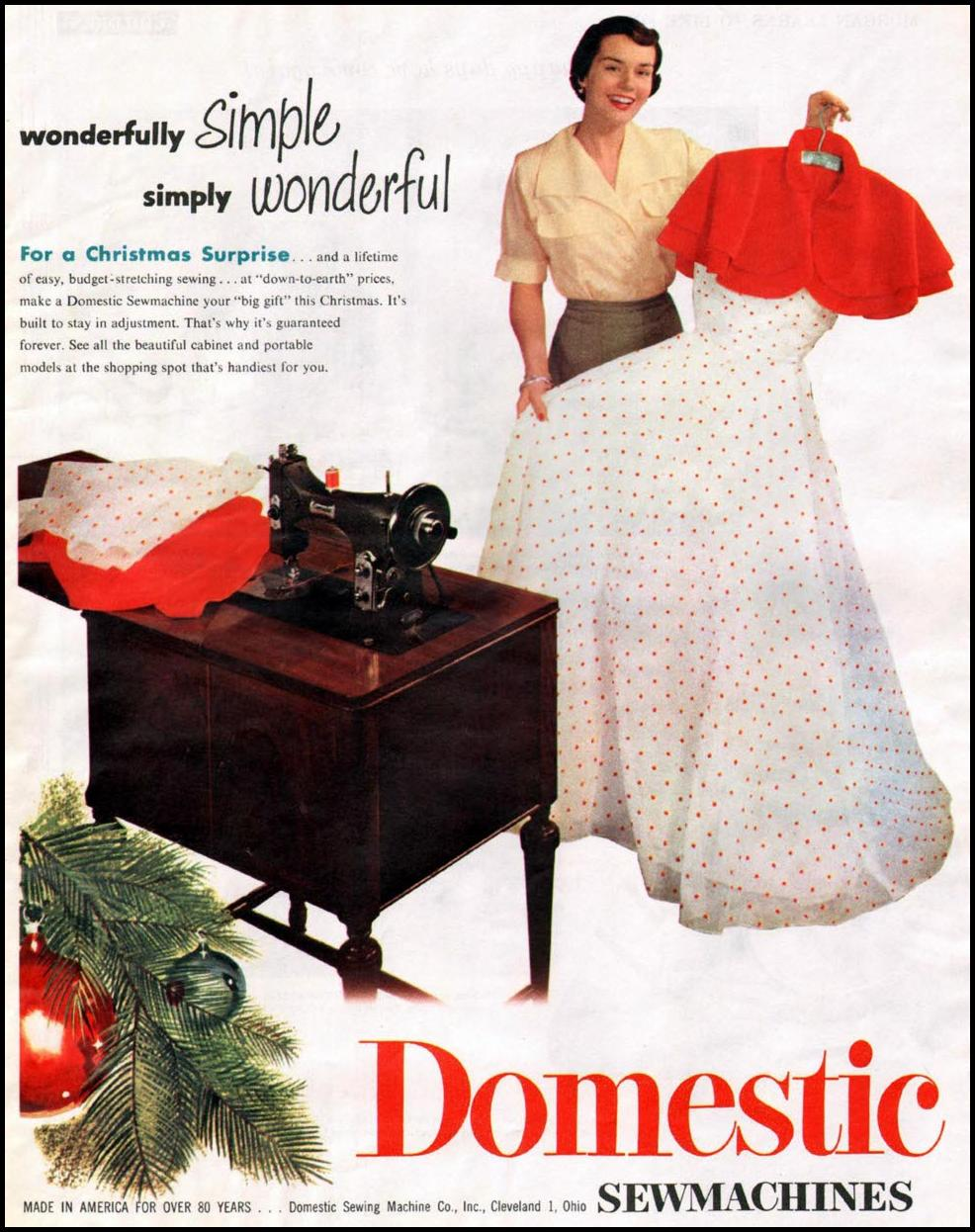 DOMESTIC SEWMACHINES WOMAN'S HOME COMPANION 12/01/1952 p. 111