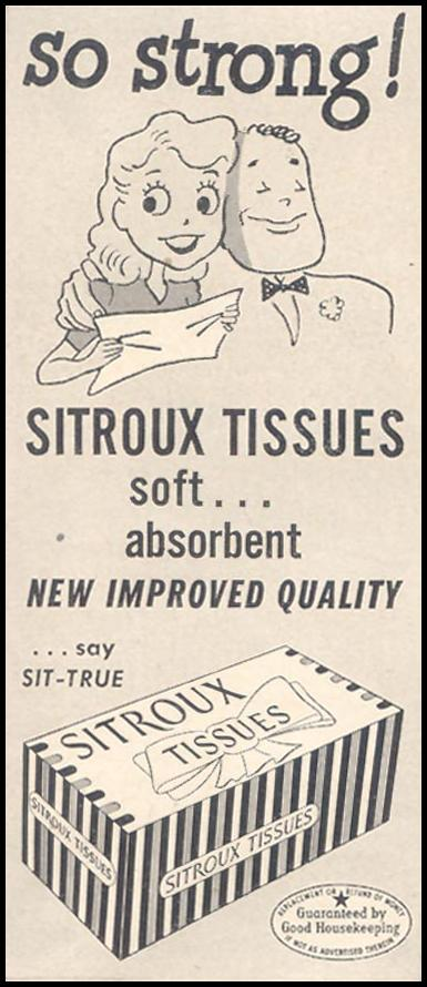 SITROUX TISSUES GOOD HOUSEKEEPING 07/01/1949 p. 190