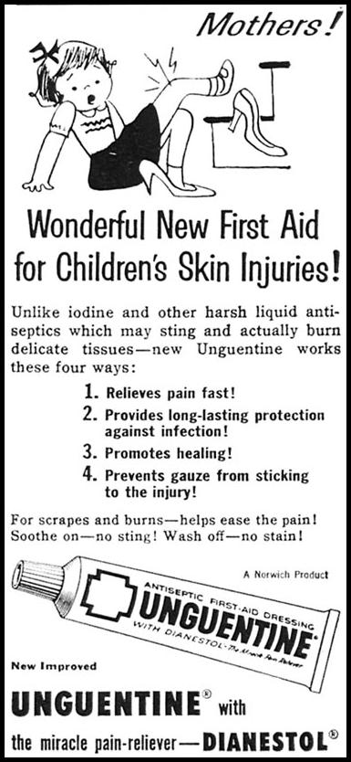 UNGUENTINE ANTISEPTIC FIRST-AID DRESSING WOMAN'S DAY 10/01/1956 p. 132