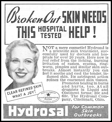 HYDROSAL SKIN TREATMENT GOOD HOUSEKEEPING 06/01/1935 p. 209
