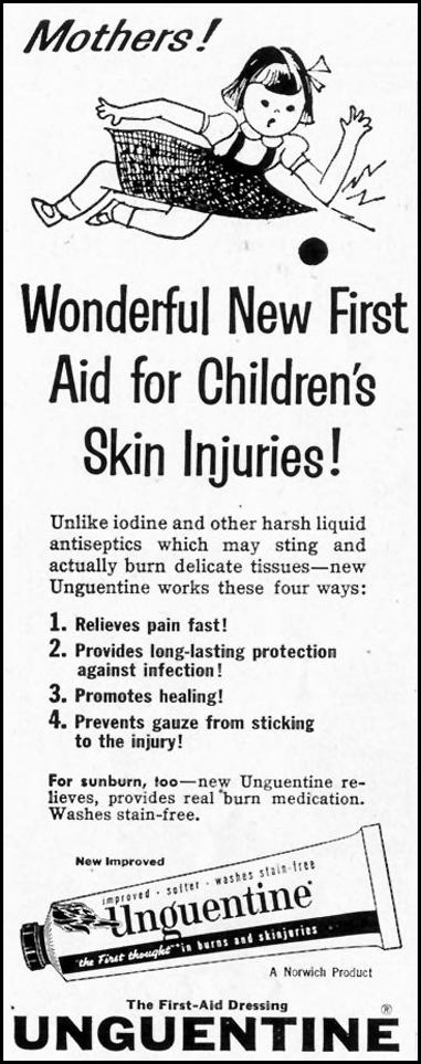 UNGUENTINE FIRST-AID DRESSING SATURDAY EVENING POST 07/23/1955 p. 82