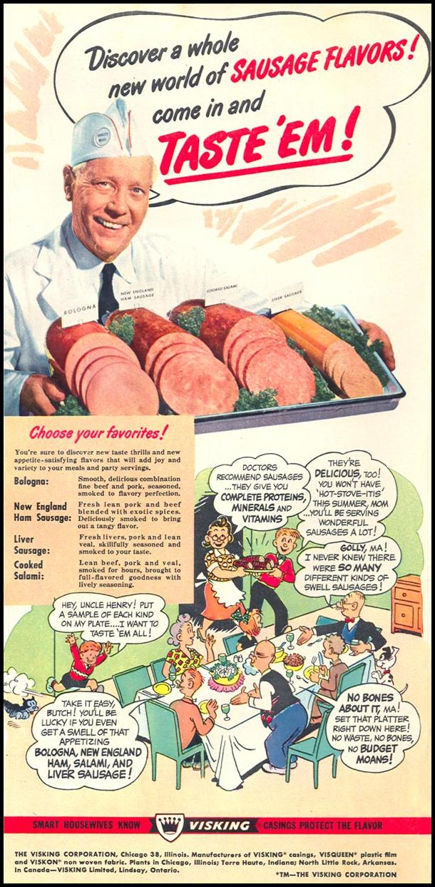 SKINLESS SAUSAGE WOMAN'S DAY 06/01/1950 p. 33