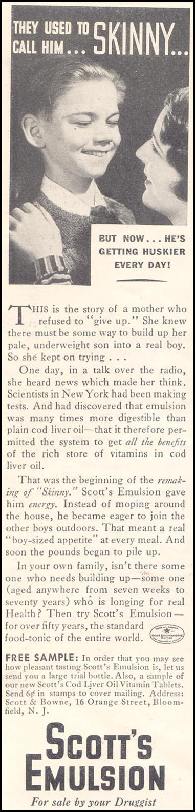 SCOTT'S EMULSION GOOD HOUSEKEEPING 03/01/1935 p. 212