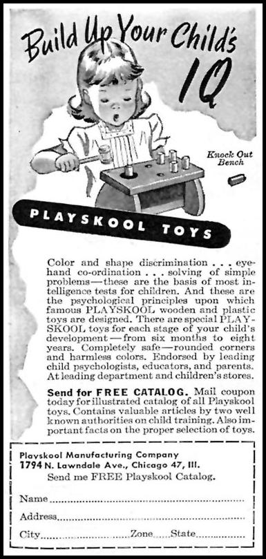 PLAYSKOOL TOYS WOMAN'S DAY 11/01/1946 p. 84