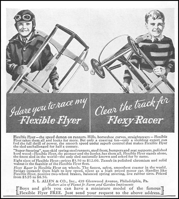 FLEXIBLE FLYER SLEDS GOOD HOUSEKEEPING 12/01/1933 p. 173