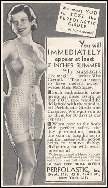 PERFOLASTIC GIRDLE AND BRASSIERE GOOD HOUSEKEEPING 03/01/1935 p. 208