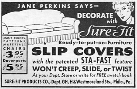 SURE-FIT READY-TO-PUT-ON-FURNITURE SLIP COVERS GOOD HOUSEKEEPING 04/01/1936 p. 248
