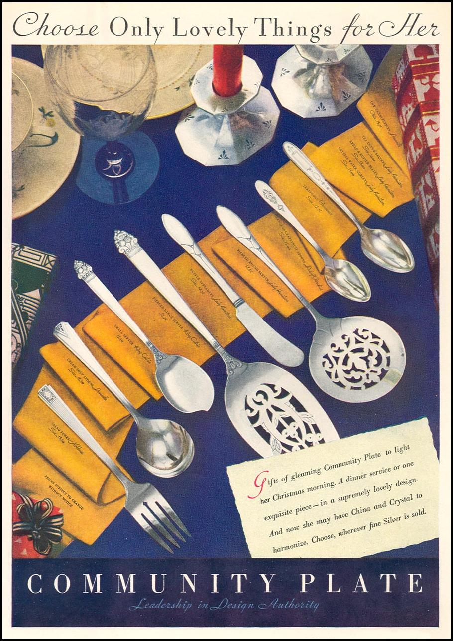 COMMUNITY PLATE DINNER SERVICE GOOD HOUSEKEEPING 12/01/1933 p. 181