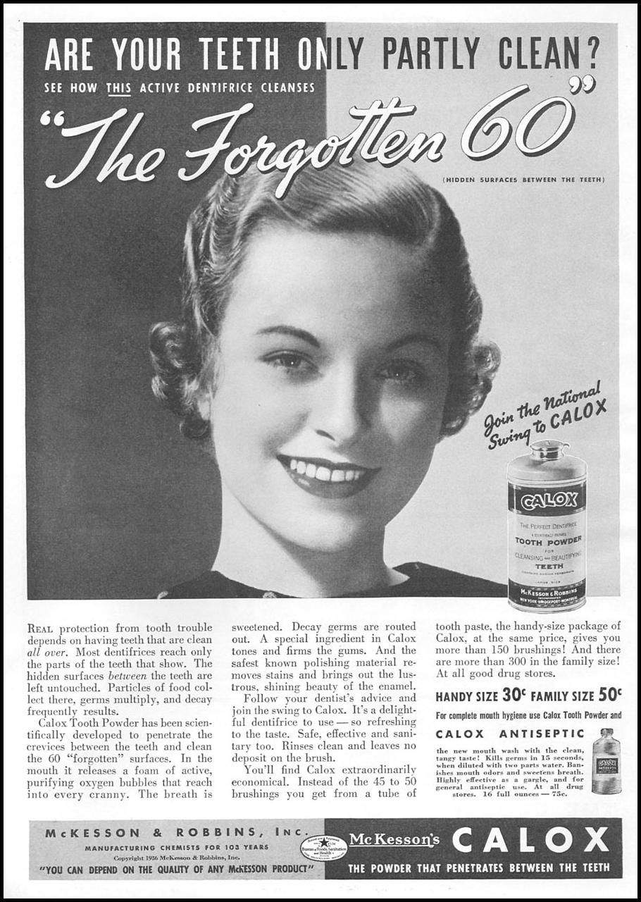 CALOX TOOTH POWDER GOOD HOUSEKEEPING 04/01/1936 p. 174