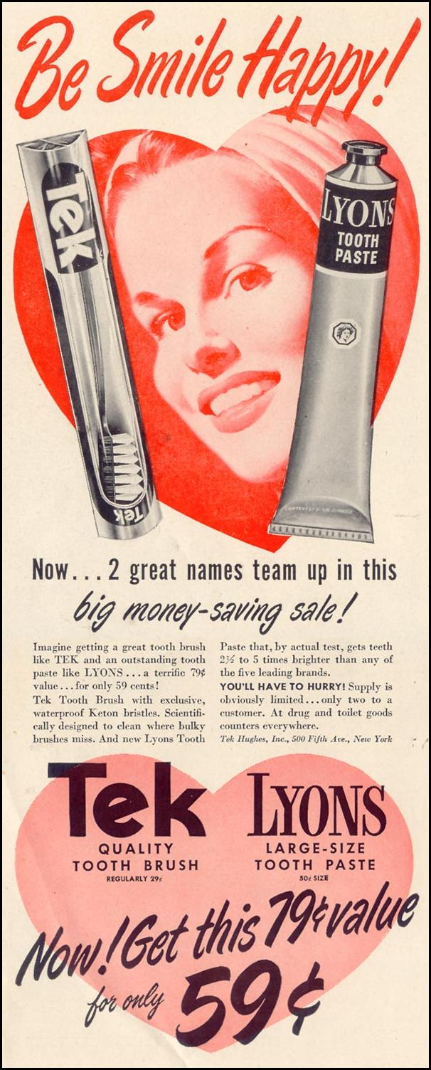 TEK TOOTH BRUSH & LYONS TOOTHPASTE LIFE 11/15/1948 p. 14