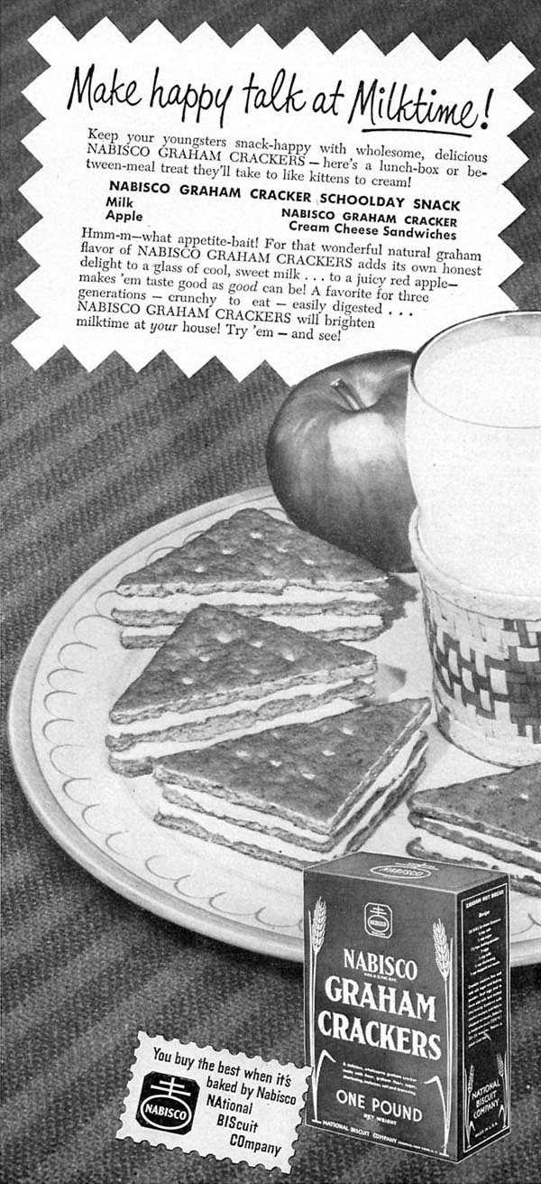 NABISCO GRAHAM CRACKERS WOMAN'S DAY 09/01/1949 p. 67