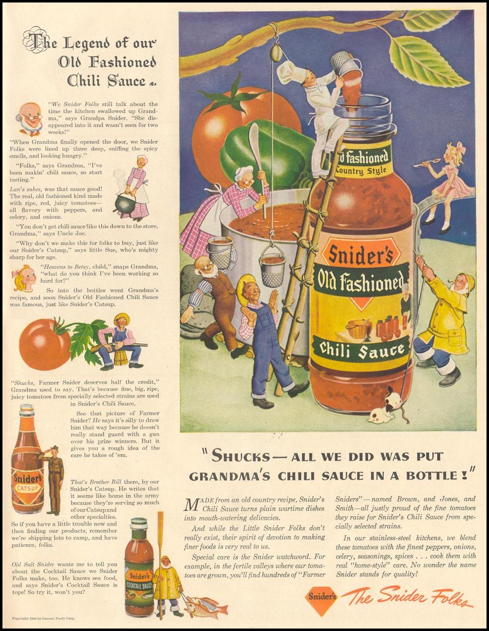 SNIDER'S OLD FASHIONED CHILI SAUCE LIFE 11/08/1943