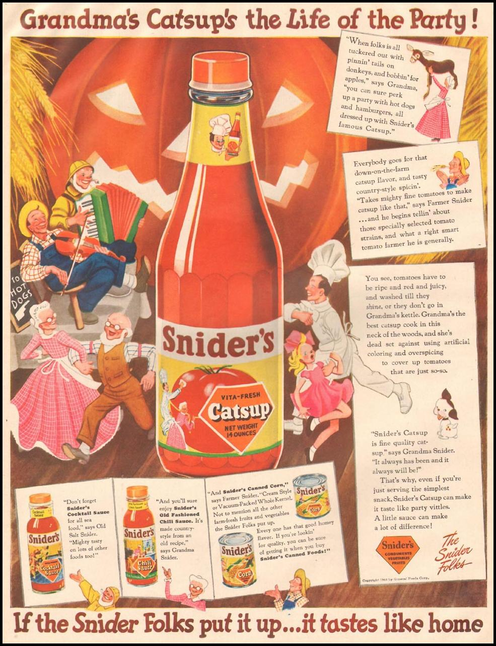 SNIDER'S CATSUP LIFE 10/23/1944 p. 44