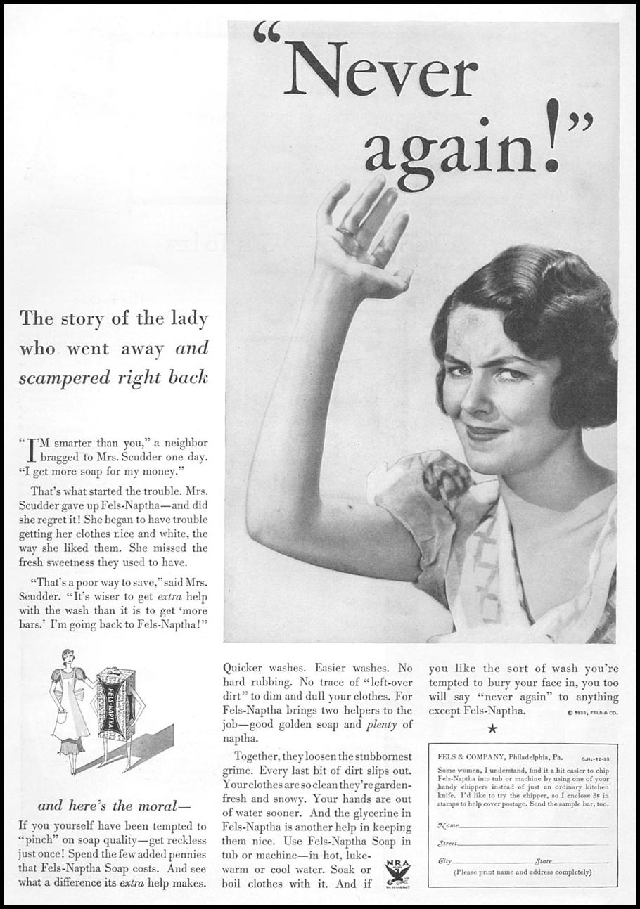 FELS-NAPTHA SOAP GOOD HOUSEKEEPING 12/01/1933 p. 93