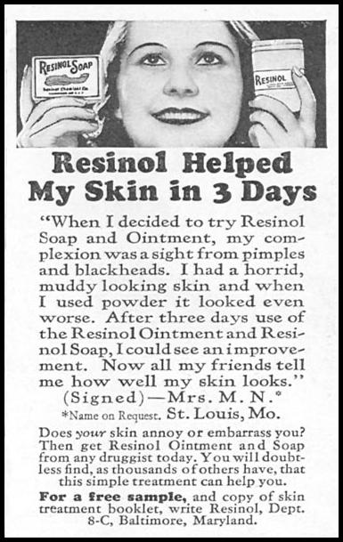 RESINOL SOAP AND OINTMENT GOOD HOUSEKEEPING 12/01/1933 p. 182