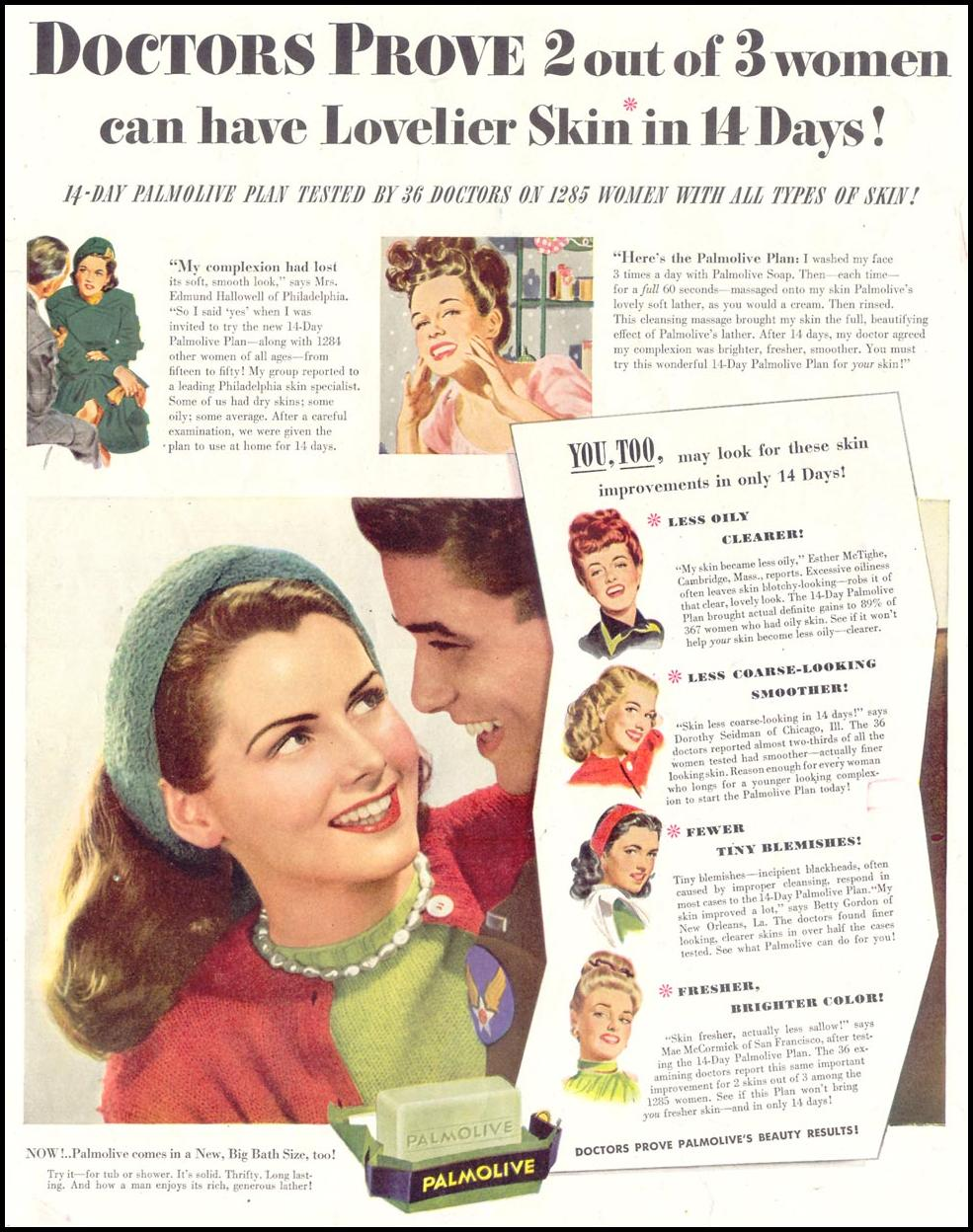 PALMOLIVE SOAP SATURDAY EVENING POST 10/06/1945 p. 8
