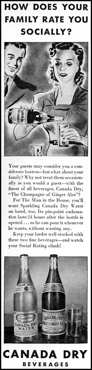 CANADA DRY BEVERAGES WOMAN'S DAY 05/01/1940 p. 52