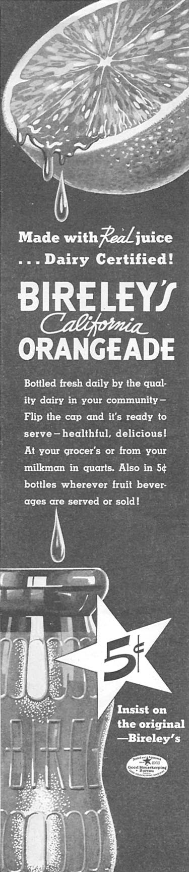 BIRELEY'S CALIFORNIA ORANGEADE GOOD HOUSEKEEPING 06/01/1935 p. 190