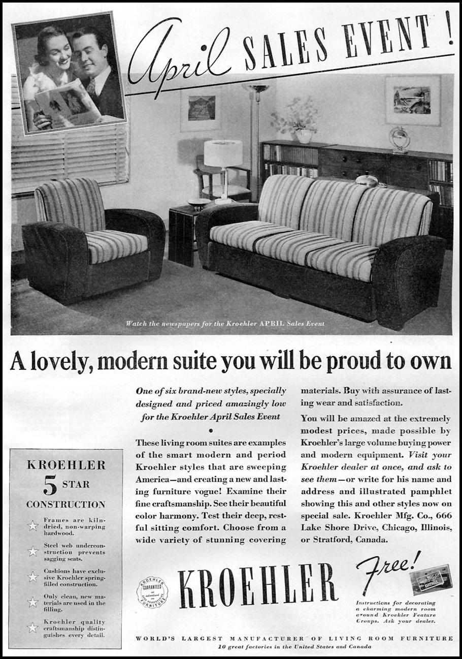 KROEHLER FURNITURE GOOD HOUSEKEEPING 04/01/1936 p. 203