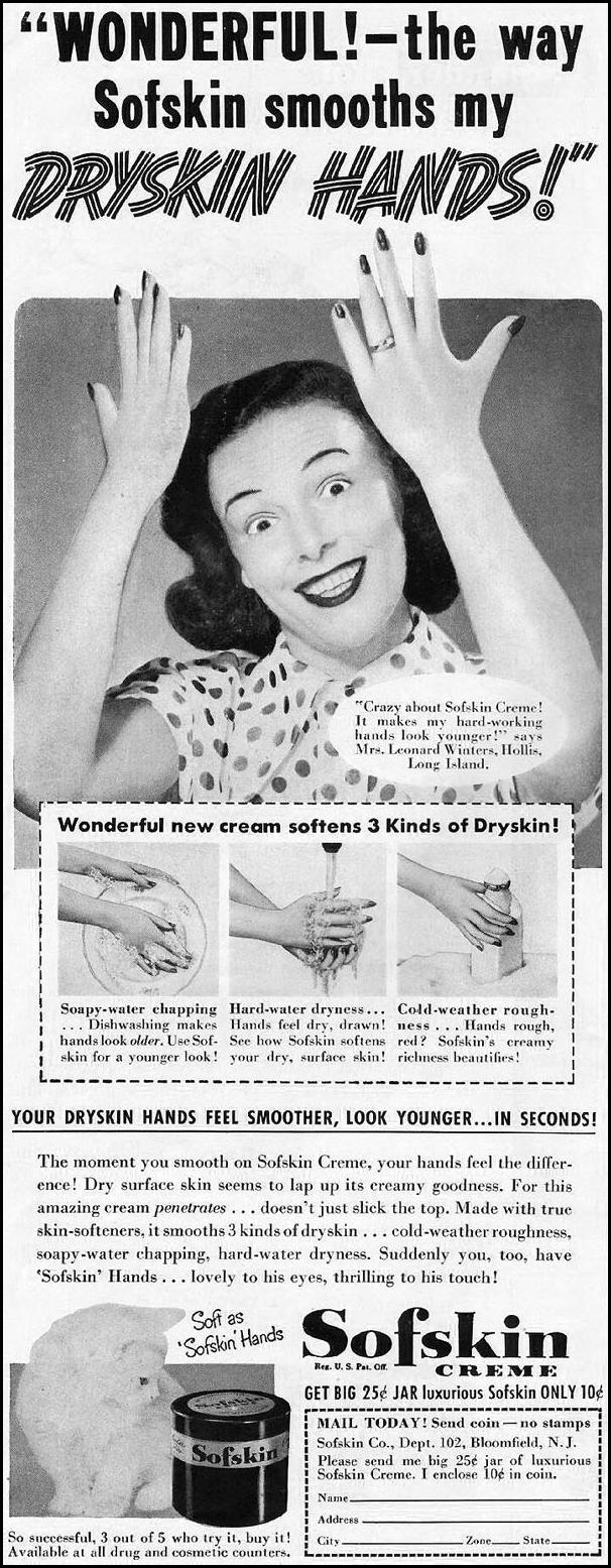 SOFSKIN HAND CREME LADIES' HOME JOURNAL 11/01/1950 p. 130