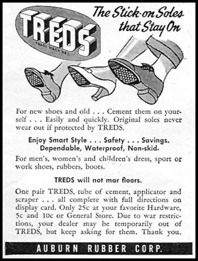 TREDS STICK-ON SOLES WOMAN'S DAY 09/01/1945 p. 85