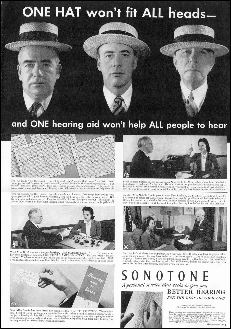 SONOTONE HEARING AIDS LIFE 02/14/1944 p. 39