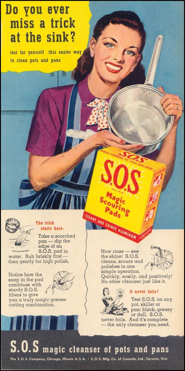 S.O.S MAGIC SCOURING PADS WOMAN'S DAY 02/01/1947 p. 63