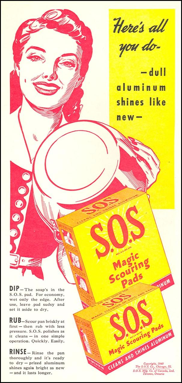 S.O.S MAGIC SCOURING PADS WOMAN'S DAY 05/01/1941 p. 52
