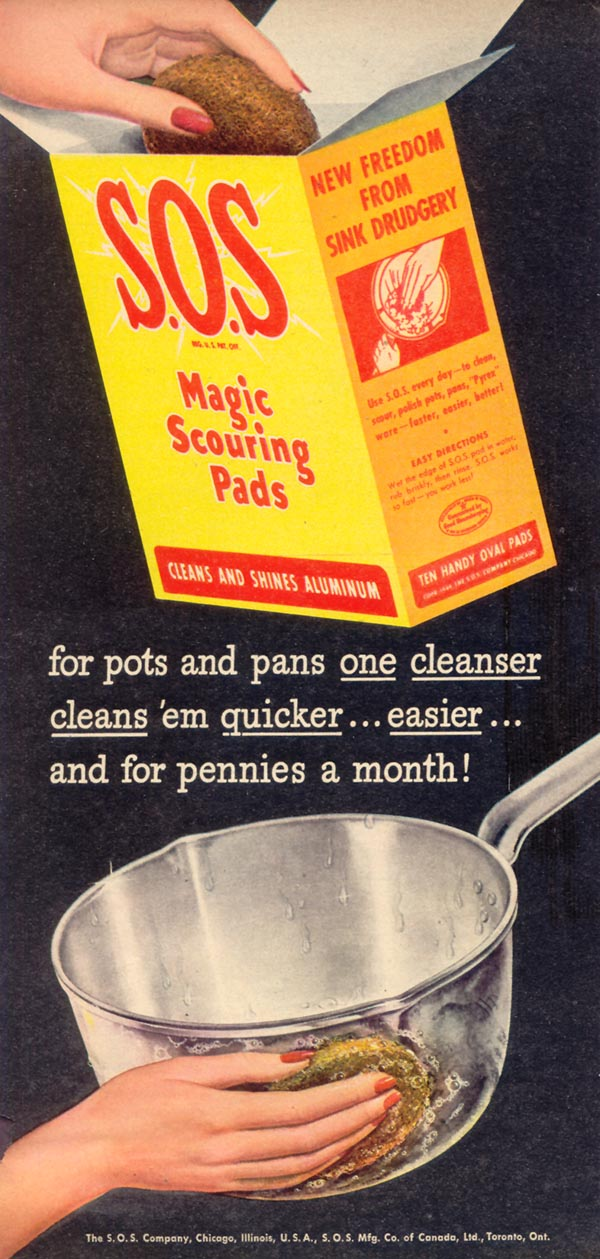 S.O.S MAGIC SCOURING PADS WOMAN'S DAY 05/01/1946 p. 26