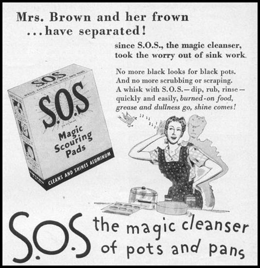 S.O.S MAGIC SCOURING PADS WOMAN'S DAY 05/01/1947 p. 111